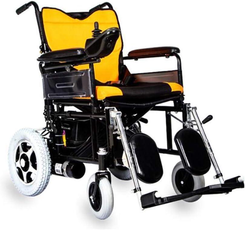 SLRMKK K Silla de ruedas eléctrica ligera plegable silla de ruedas inteligente potente doble motor marco de acero al carbono para discapacitados ancianos movilidad hermosa casa