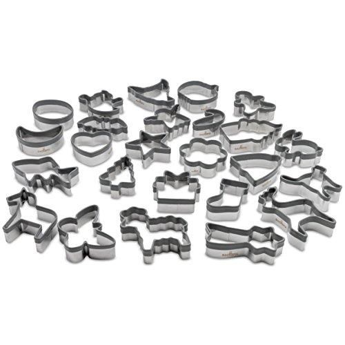 Backefix Keksausstecher Edelstahl Ausstechformen mit Silikon Schutz – Oster Ei, Hase, Lamm Ostern grau 25 Stück
