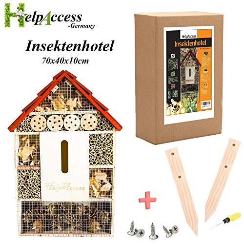 HelpAccess Insektenhotel Bausatz aus Holz, Insektenhaus mit Standfüßen, Nisthilfe und Schutz für Verschiedene Fluginsekten (XL)