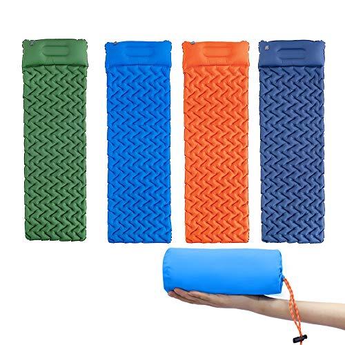 PLOK Colchón inflable para acampar con almohada a prueba de humedad tienda dormir colchoneta aire cama para senderismo viajes playa
