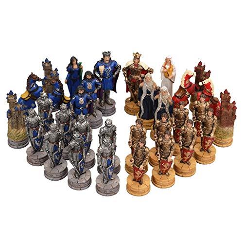 Pank Ajedrez de Caracteres 3D, Juego de ajedrez Exquisito e Interesante, Figuras de Resina Grandes, Tablero de ajedrez de Madera Maciza, artesanías, Regalo (tamaño : A-Type Pieces)