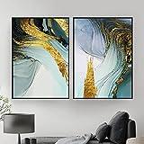 XXCCHH Póster Abstracto Azul Verde Lámina de Oro Lienzo Arte de la Pared Pintura estética e Impresiones Imágenes de Moda Decoración Moderna para Sala de Estar 50x70cmx2 Sin Marco