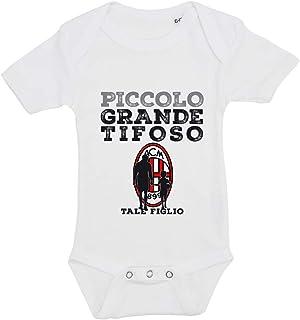 ALL SAS Babybody mit Aufdruck Fußball Mailand Tale Blume aus 100% Baumwolle Made in Italy