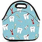 Sac De Repas,Tissu Dentaire En Néoprène Happy Teeth Friends Bleu Sacs À Lunch En Néoprène Pour Les Femmes...