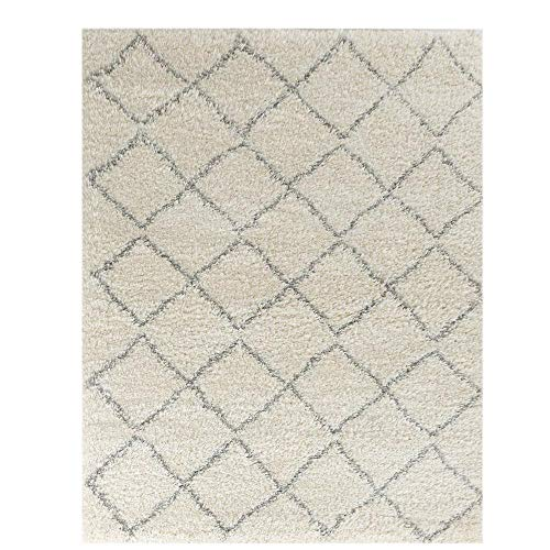 Wyatt & Ash Ivory/Light Gray 3.25 ft. x 5 ft. Diamond Trellis Shag Area Rug