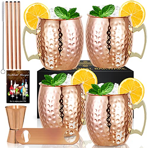 Moscow Mule Copper Mugs- Set of 4 Copper Plated Stainless Steel Mug 18oz, for Chilled Drinks (4 pcs)