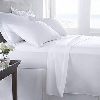 Luxury 144TC 3 Pieces Bed Sheet Set (1 Bedsheet and 2 Pillow Case), Cotton, King, White, H26.4 x W35.6 x D4.8 cm