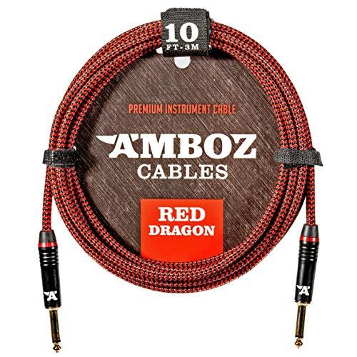 Red Dragon Instrumentenkabel 3m rot. Geräuschloses Gitarrenkabel für die Elektrische und Bassgitarre – 6.35 mm mono (TS) Klinke Gerade