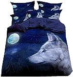 XWXBB Coppia di biancheria da letto natalizia morbida antirughe traspirante blu Wolf Set di biancheria da letto con federa 135 x 200 cm 3 pezzi Set copripiumino, A01, Super King 220x260cm