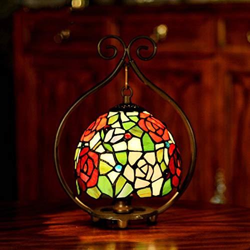 HOUSEHOLD Chambre Accueil Kids Décor Lampes d'éclairage Tabl 7 Pouces Tiffany Chambre Table de Chevet Lampe d'étude Café Western Restaurant Éclairage décoratif Table Rose Lampes de Bureau lumière