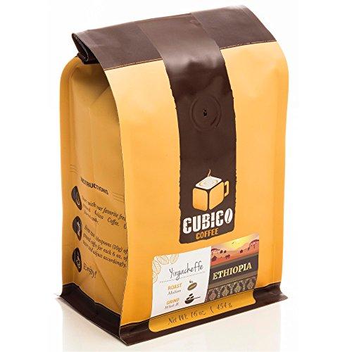 Ethiopia Yirgacheffe Coffee - Ground Coffee - Freshly Roasted Coffee - Cubico Coffee - 16 Ounce (Single Origin Ethiopian Coffee)