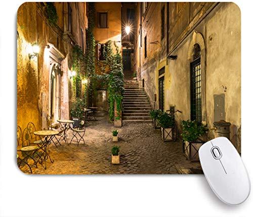 NOLOVVHA Gaming Mouse Pad Rutschfeste Gummibasis,Innenhof Nachtansicht mit Straßenlaternen Cafe Stühle Pflanzen in Blumentöpfen Rom Italien,für Computer Laptop Office Desk,240 x 200mm