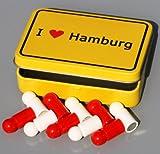 Hansestadt-Magnete in Box 'I love HAMBURG' im Ortsschild-Look, 10x Pinnwand-Magnet Neodym (sehr stark) in Stadt-HH-Farben mit Klapp-Dose!
