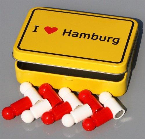 """Hansestadt-Magnete in Box \""""I love HAMBURG\"""" im Ortsschild-Look, 10x Pinnwand-Magnet Neodym (sehr stark) in Stadt-HH-Farben mit Klapp-Dose!"""