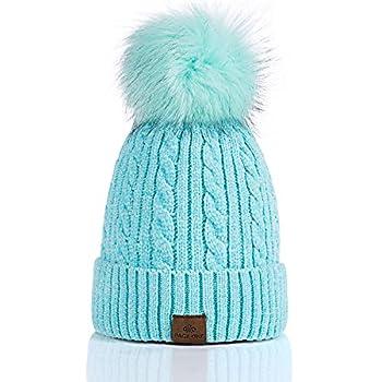 PAGE ONE Women Winter Pom Pom Beanie Hats Warm Fleece Lined,Chunky Trendy Cute Chenille Knit Twist Cap/Lake Blue
