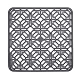 Silicone Kitchen Sink Mat, Great Sink Protector Grid Accessory for Stainless Steel Sink, Bathroom Sink, Porcelain Bowl, Under Sink Bottom (11.8'' x 11.8'', Grey)