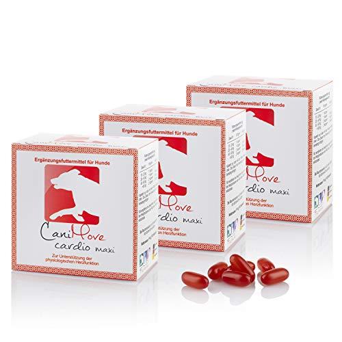 CaniMove 3 Packungen Cardio Maxi, Ergänzungsfuttermittel zur Unterstützung der Herzfunktion, 3 x 100 Kapseln (a 1.140 mg).
