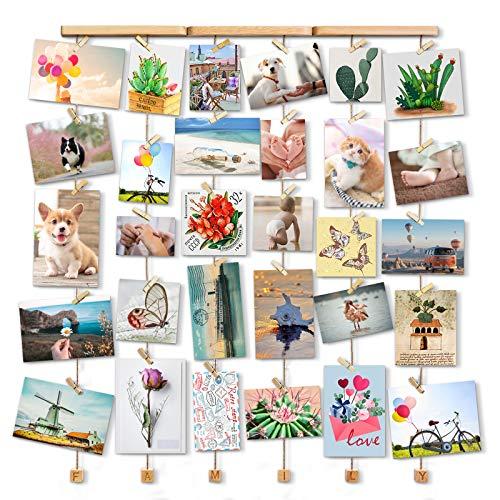 Love-KANKEI Family Bilderrahmen Collage Fotorahmen Holzbilderrahmen mit 30 Kleinen Holzklammern, Gedenktag wie Geburtstag Hochzeit Weihnachten usw.
