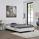 CARO-Möbel Polsterbett Brighton Bettgestell 120 x 200 cm Einzelbett Designbett inklusive Lattenrost Lederimitat in weiß - 3