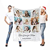 Personalized Throw Blanket with Photo & Text.Custom Blanket with 1-9 Photo Collages or Text.Customized Blankets Gift for Pet,Family,Daughter,Son,Holidays,Wedding,Birthday,9 Photos Collage,32x48inch
