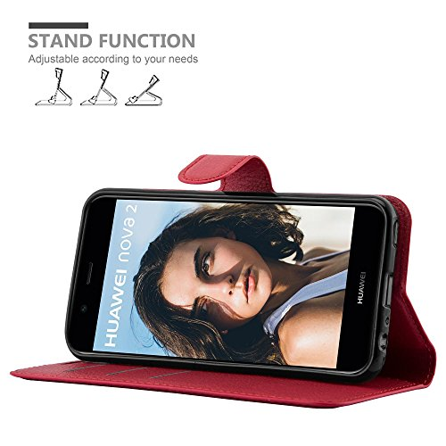 Cadorabo Hülle für Huawei NOVA 2 - Hülle in Karmin ROT – Handyhülle mit Kartenfach und Standfunktion - Case Cover Schutzhülle Etui Tasche Book Klapp Style - 2