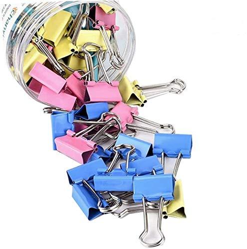 JUNGEN 60 Pinces double 15 mm Assorties Clip Organisateur Pinces à Dessin de Papier Couleurs( 1 boîte)