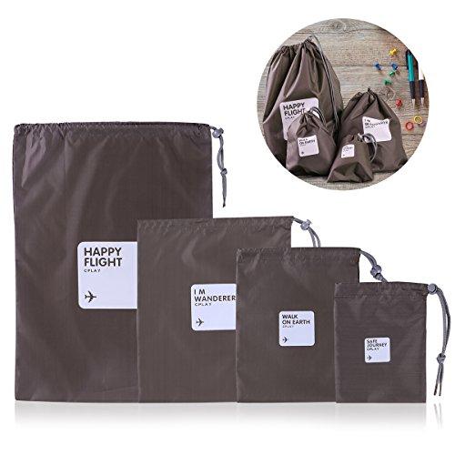 WINOMO 4 Pieza Organizador para Viaje Bolsa Almacenamiento con Cordón Impermeables Nylon...