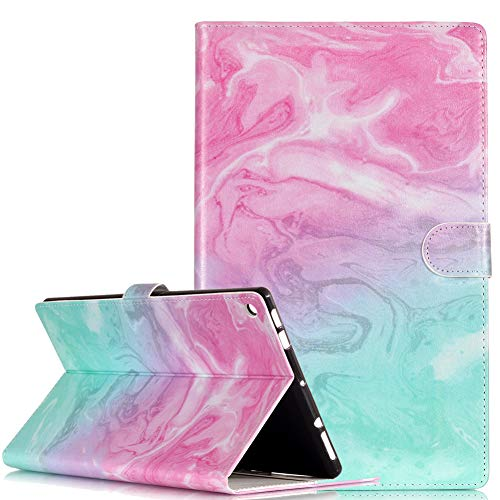 Billionn Case for All-New Amazon Fire HD 8 inch (7th Generation, 2017 Release), Slim Lightweight PU Leather Soft TPU Inner, Stand Smart Cover Auto Wake/Sleep for Kindle Fire HD 8, Pink green marble