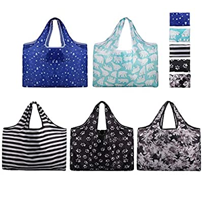 Foldable Reusable Grocery Bags-5 Packs XXL Size Folding Shopping Bag- Eco Friendly Ripstop Oxford Cloth Waterproof/Machine Washable Durable Heavy Grocery Shopping Tote Bags
