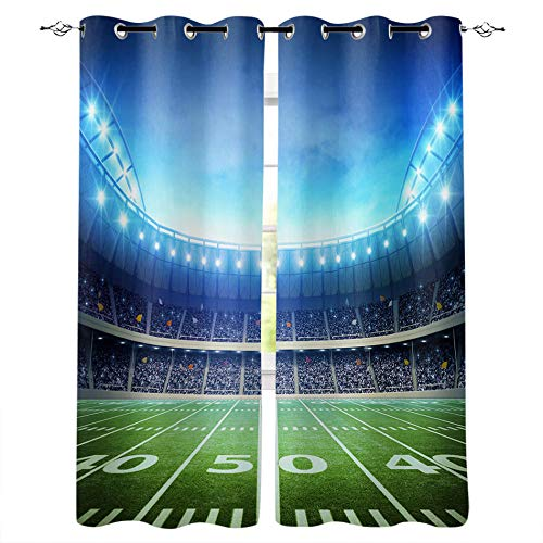 MXYHDZ Opacas Cortinas Dormitorio - Rugby Estadio Luces - Impresión 3D Aislantes de Frío y Calor 90% Opacas Cortinas - 160 x 160 cm - Salon Cocina Habitacion Niño Moderna Decorativa