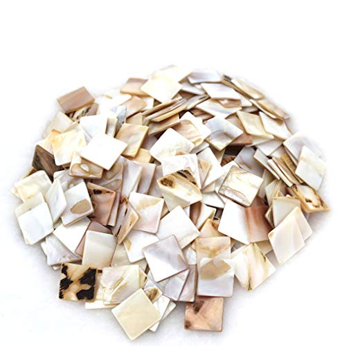 Tueascallk 300 Pieces of Bulk Natural Mother of Pearl Mosaic Tiles, for Home Decoration and Handmade Crafts, 0.8'(L) x 0.8'(W) x 0.06'(T)