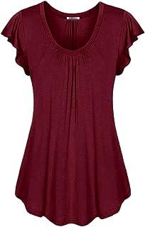 UUYUK Women's Short Sleeve V-Neck Pleated Ruffled Shirt Blouse Flowy