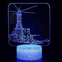 3DナイトライトLEDベビースライド灯台男性と女性の子供のためのスリープライトusbリモートコントロールとスマートタッチおもちゃハロウィーンナイトライト誕生日パーティーベッドルームギフト