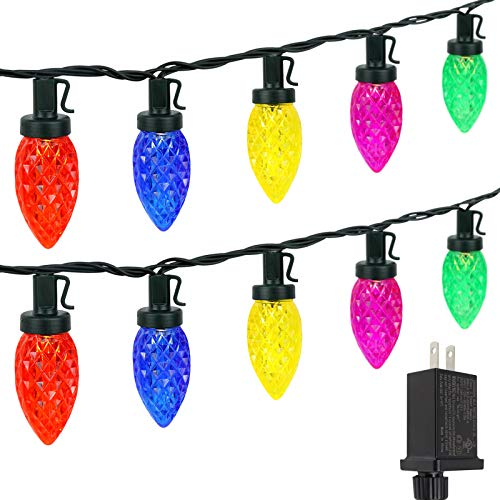 C9 Christmas String Lights Outdoor/Indoor, Extendable 50 LED 49ft Green Wire Christmas Tree Lights, Fairy Lights for Xmas Party Wedding Decoration (Multi Color)