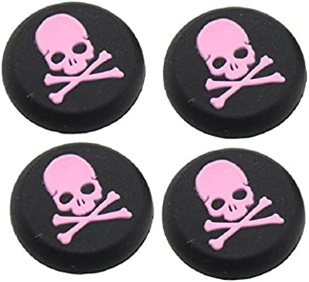 Everycom Skeleton Design Silicone Thumb Sticks Caps Handle Joystick Grip Cover For With PS4/Xbox 360 Controllers - Pink 2 Pair (4Pcs)