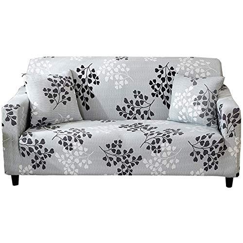 Fundas elásticas para sofá de 2 plazas, poliéster y elastano impresas, fundas protectoras de muebles de 2 plazas, 134 a 170 cm de largo con espuma antideslizante (2 plazas, gris A)