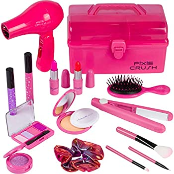 PixieCrush Kids Makeup Kit for Girls with Pretend Hair Dryer and Flat Iron  Play Makeup for Kids & Little Girls Ages 3 4 5 6 7 8 9 10  Toddler Girls Makeup Toy Kit with Carrying Case…