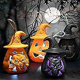 4PCS Lanterna di Zucca di Halloween, Luci della Lanterna Senza Fiamma Lampade Colorate Lampade Notturne a Sospensione Elettroniche, Lanterne Arancioni per Decorazioni di Halloween