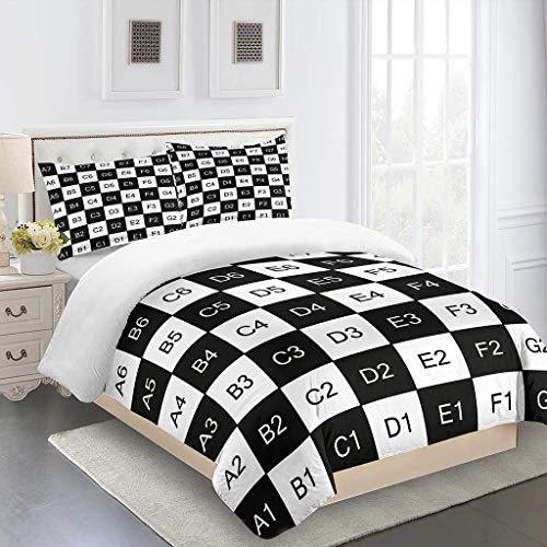INYTJX Kids Duvet Cover With 2 Pillowcases Chess Board Bedding Set With Zipper Closure Modern Style 3 Pieces Hypoallergenic Soft Microfiber Quilt Cover Set Size 135X200Cm