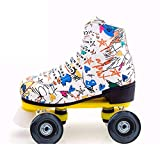 Womens Roller Skates Classic High-top Roller Skates Four-Wheel Roller Skates Shiny Roller Skates for Adult Youth Boys Girls Outdoor with Shoes Bag White US:8