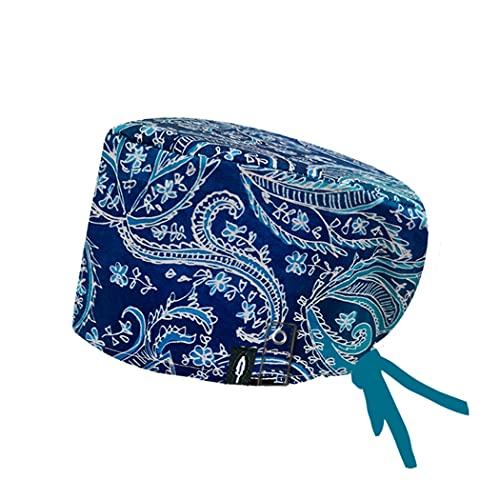 Modelo: BLUE ROYAL CON SISTEMA CLICK - Pelo Largo -Gorro de Quirófano ROBIN HAT con sistema de sujeción con click - Ajustable- 100% algodón (Autoclave)