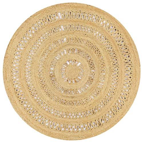 Tidyard Teppich Handgefertigte geflochtene runde Jute Teppich fürs Wohnzimmer Esszimmer...