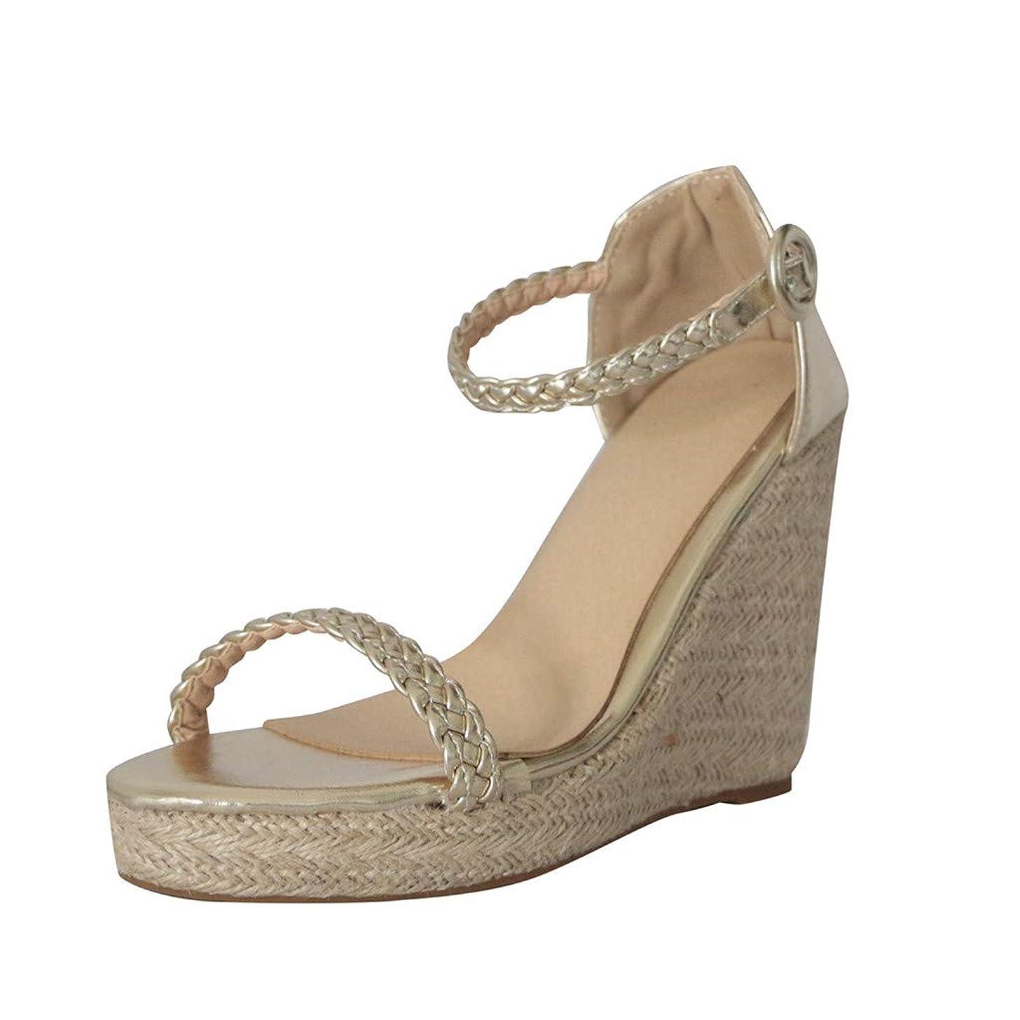 Women's Casual Peep Toe Single Buckle Super High Platform Strap Shoes Roman Wedges Sandals JHKUNO