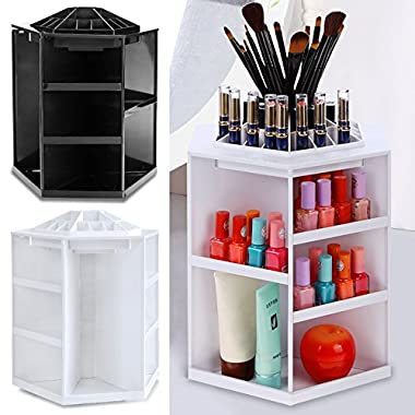 Miageek 360 Degree Rotation Adjustable Makeup Organizer Great Capacity Multi-Function Jewelry and Cosmetic Storage Display Boxes For Dresser, Bedroom, Bathroom (White)
