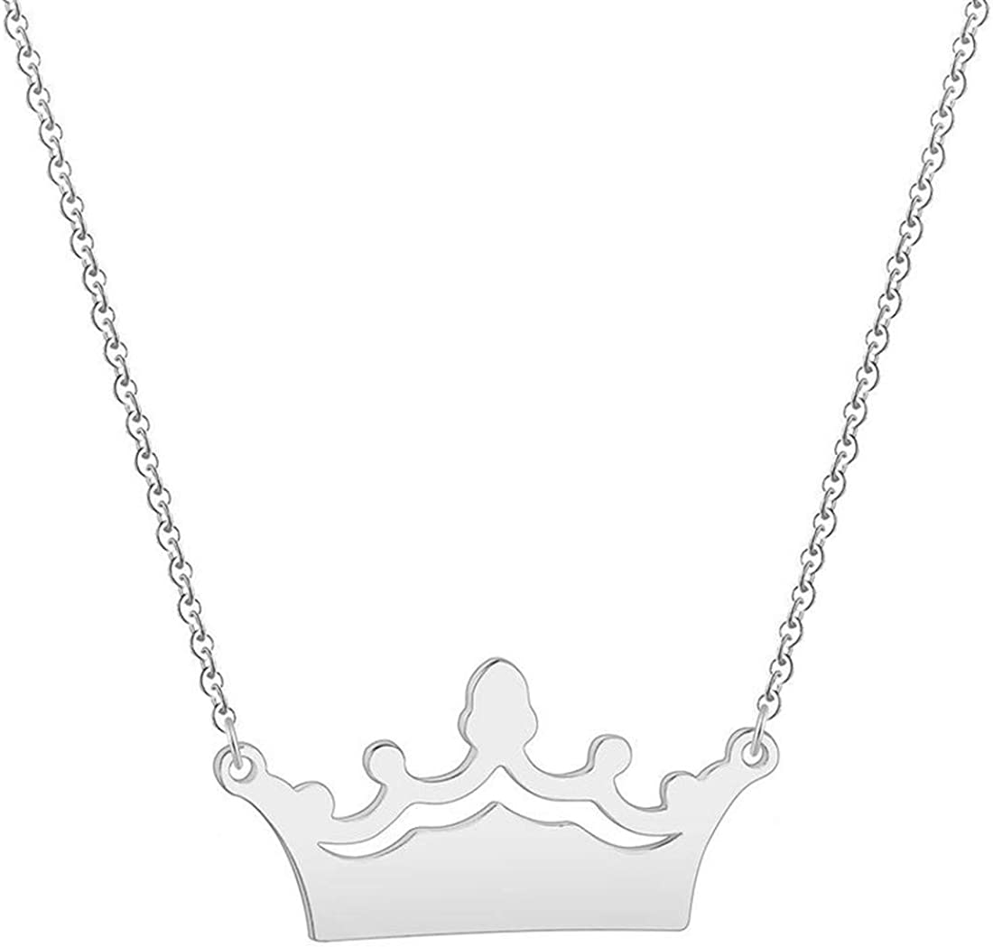 FdddZZ Trendy Princess Crown Pendant Necklace Collars Stainless Steel Jewelry Birthday Wedding Engagement Gift for Women Girls