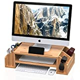 WELL WENG Bamboo 2-TIier Monitor Riser with Adjustable Storage Organizer Desktop Stand for iMac,Printer,Notebook,Xbox one,PS4 (MR3-SG)