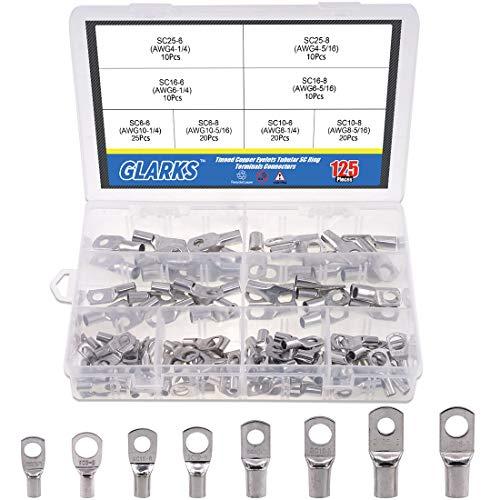 Glarks Assortiment de 125 cosses de fil de cuivre étamé très résistantes de qualité marine avec œillets SC et connecteurs de cosse
