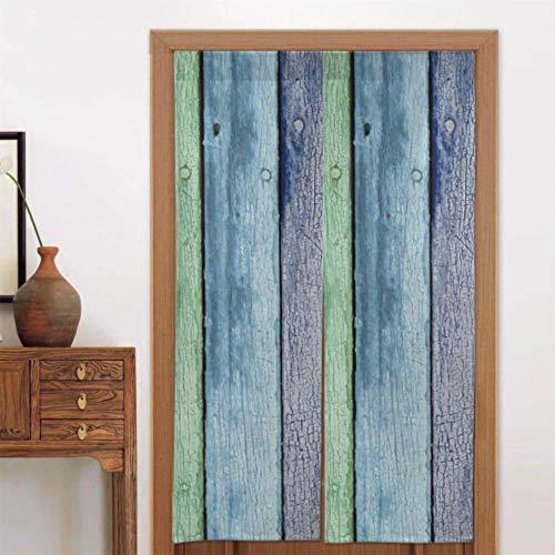 Cortinas de cocina de 34 x 56 pulgadas (86x143cm) para hombres, color arcoíris, pintado, envejecido, desgastado, tablones de madera, cortinas de cocina contemporáneas, cortina de puerta de cocina, ti