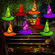 #LightningDeal Tcamp Halloween Decorations Outdoor Witch Hats Lights, 8Pcs Hanging Lighted Glowing Witch Hats with 44ft 104LED Halloween Lights String for Indoor, Outdoor, Yard, Tree Decor (8 Lighting Modes)