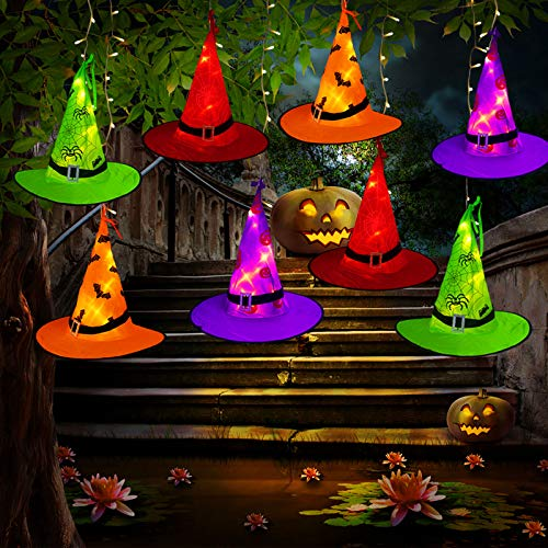 Tcamp Halloween Decorations Outdoor Witch Hats Lights, 8Pcs Hanging Lighted Glowing Witch Hats with 44ft 104LED Halloween Lights String for Indoor, Outdoor, Yard, Tree Decor (8 Lighting Modes)